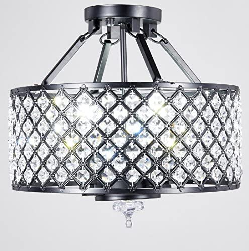 New Legend Lighting 4-Light Antique Black Round Metal Shade Crystal Chandelier Semi-Flush Mount Ceiling Fixture