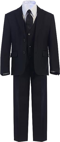 Boys Toddler Kid Teen 5pc Wedding Formal Party Black Suit Tuxedo w// Vest sz 2-20