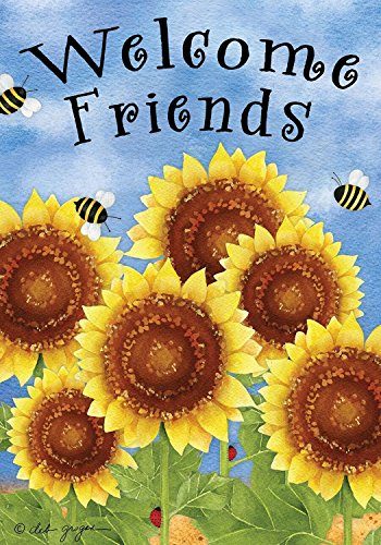 Briarwood Lane Welcome Friends Sunflowers Summer Garden Flag Bees Floral 12.5