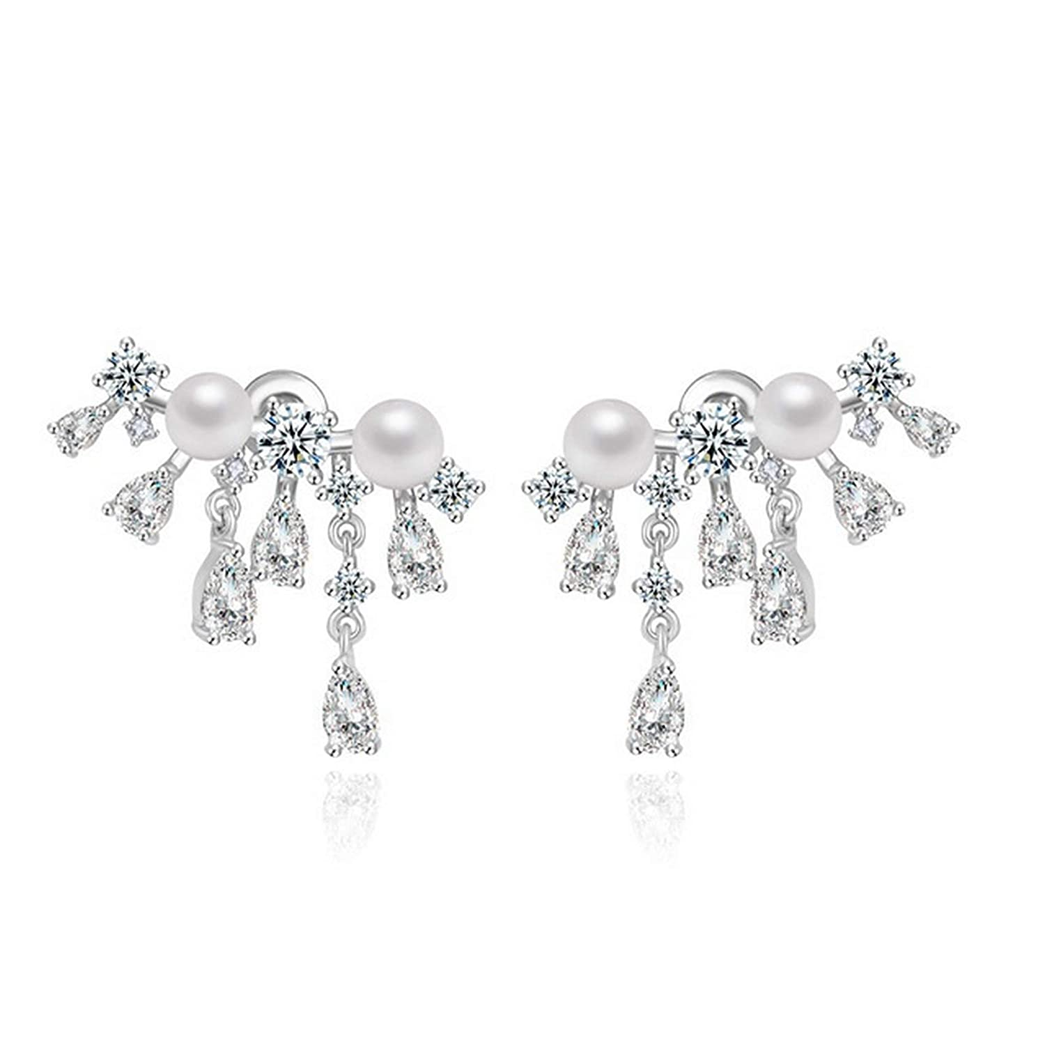 CS-DB Silver Simulated Pearl Statement Party Waterdrop Clear CZ Stud Charm Earrings
