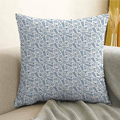 Jazz Music Microfiber Pattern of Blue Sketchy Saxophones Trombones Timpani Drums Cellos Synthesizers Sofa Cushion Cover Bedroom car Decoration W18 x L18 Inch Blue White
