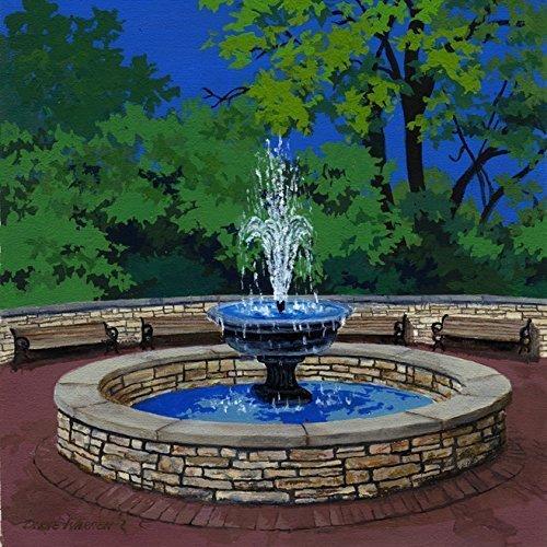 Ceramic Tile Coaster - White Plaza Fountain, Naperville, Illinois - Painting the Town Series - Ceramic Tile - Ceramic Coaster - Decorative Art - Plaza Town