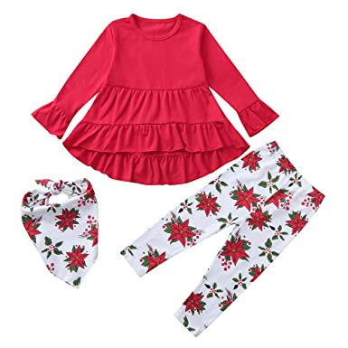 956b0d8b38208f Zhen+ 3pcs Baby Kinder Kleidung Set Einfarbige Kleider + Blumenmuster  Stretch Hosen + Druck Schal für 1-5 Jahre Jungen Mädchen Warme Winter  Outfits Set ...