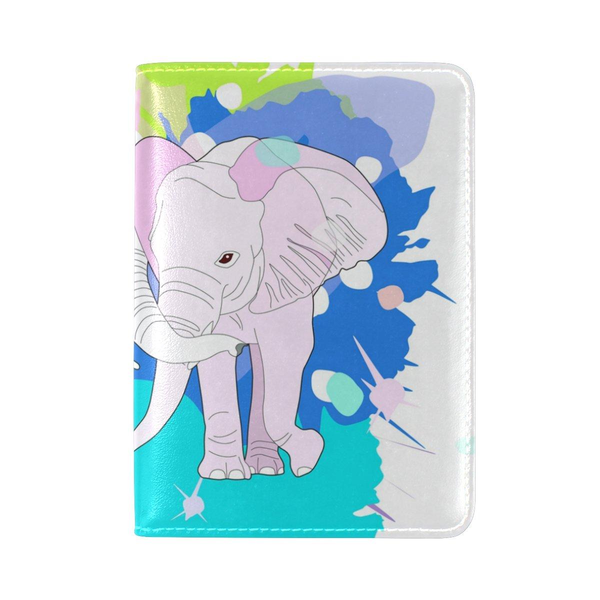 YuihomeCute 象のペア本革パスポートホルダーカバーケース 旅行用財布 B07F28NG2G