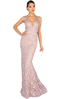 d25eb15e26e Terani Couture - 1912E9163 Embroidered Plunging V-Neck Trumpet Dress