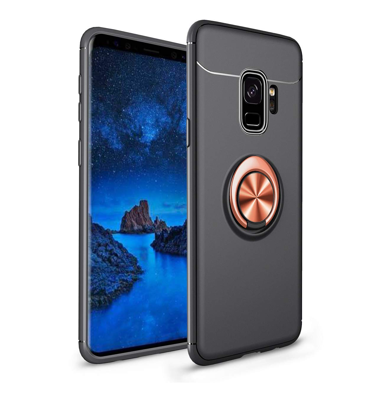 Case Compatible with Samsung Galaxy S9 S9 Plus Ultra Thin PC Cover Finger Ring Stand Holder Slim Hard Protective Skin Back 360 Degree Rotating Stand Car Holder Black, Galaxy S9 Plus