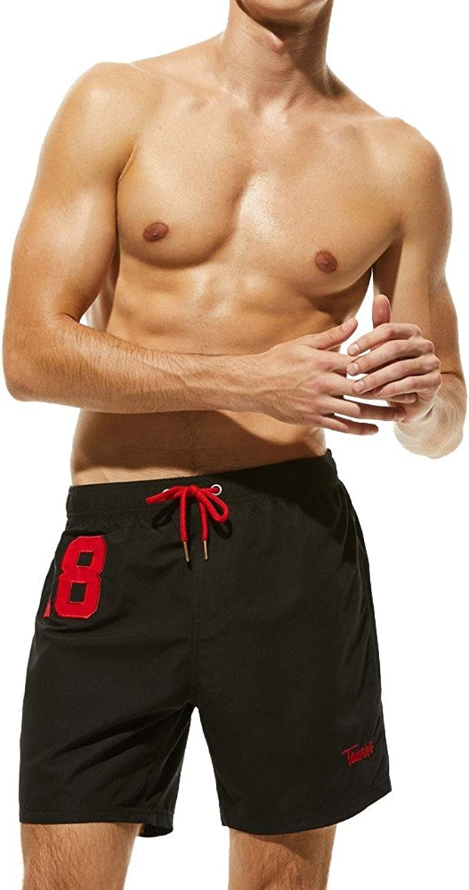 SANGQU swimwear Mens Beachwear Surfing Board Shorts Quick Dry with Mesh Lining Swim Trunks