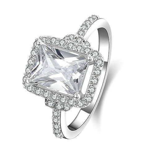Daesar Joyería Anillo Compromiso Plata 925 para Boda Pedida Personalizado Halo de Diamante Imitación de de