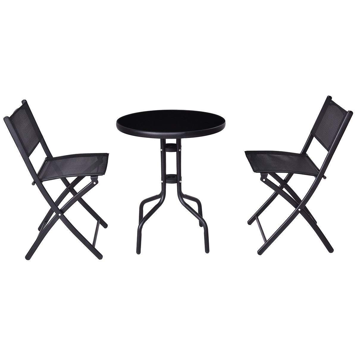 MD Group 3 pcs Outdoor Folding Bistro Table Chairs Set