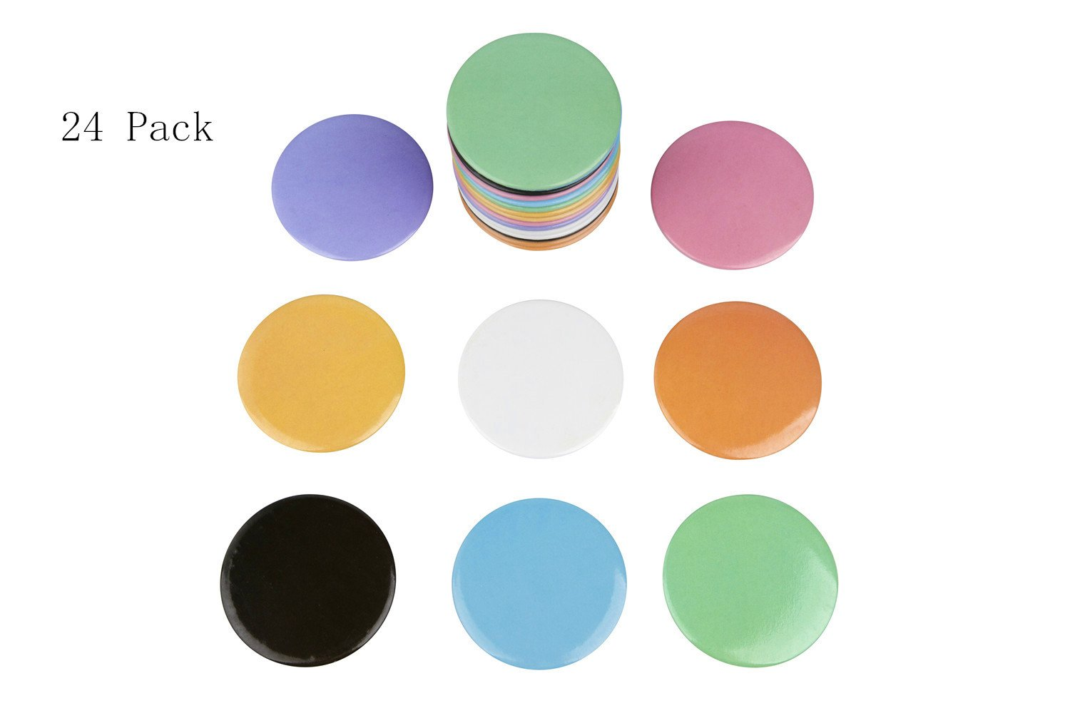 Compact Mirror Bulk, Round Makeup Glass Mirror for Purse Great Gift 2.5 Inch 8 Colors Pack of 24