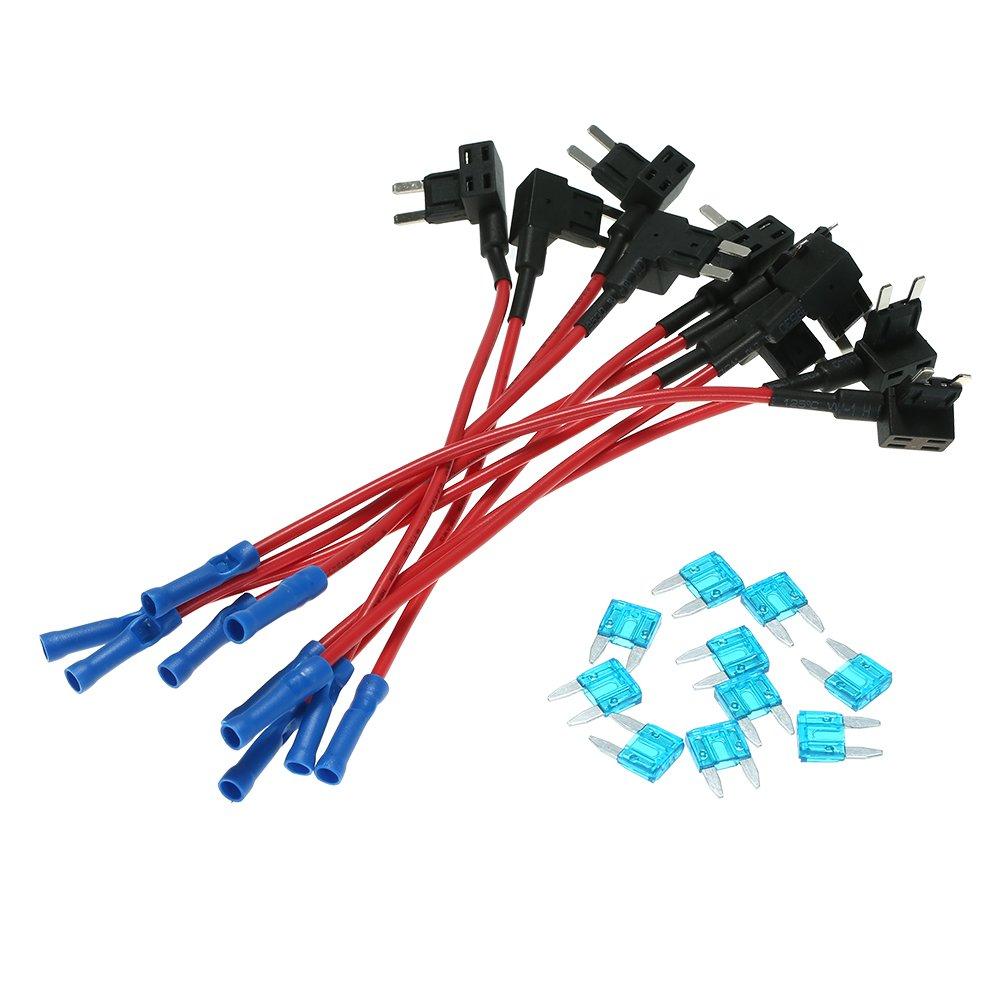 10Pcs 12V Fusibile da auto circuito FAP TAP Adattatore Mini Blade Portafusibile ATM APM