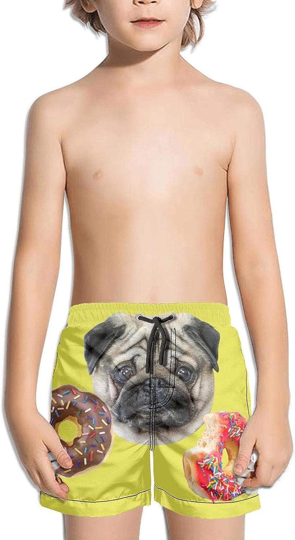 NANIERKOJ Pug Angel Pug Puppies Boy Pocket Printed Elastic Medium Length Swim