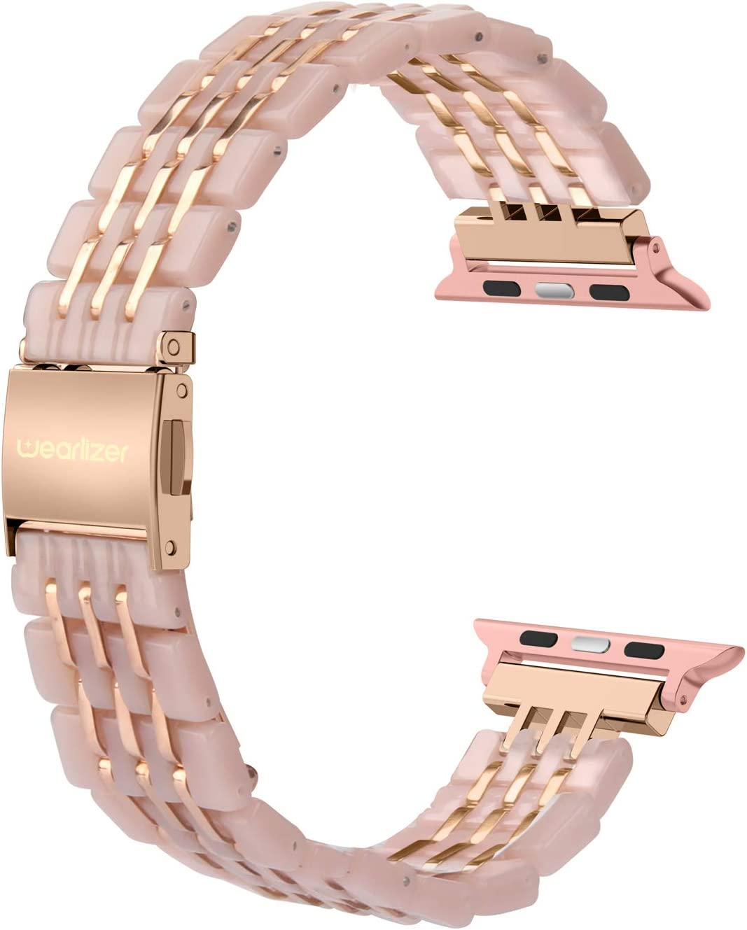 Wearlizer Compatible with Apple Watch Band 38mm 40mm Womens for iWatch SE Resin Unique Stainless Steel 3-line Strap Beauty Replacement Wristband Metal Bracelet Series 6 5 4 3 2 1-Deep Rose Gold+Pink