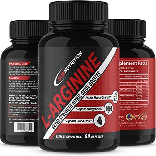 L-Arginine + L-Citrulline 1340mg Potent Nitric Oxide Formula - Supports Cardio Health, Nitric Oxide Production, Muscle Growth, Endurance and Energy Level - Made in USA by SubNutrition