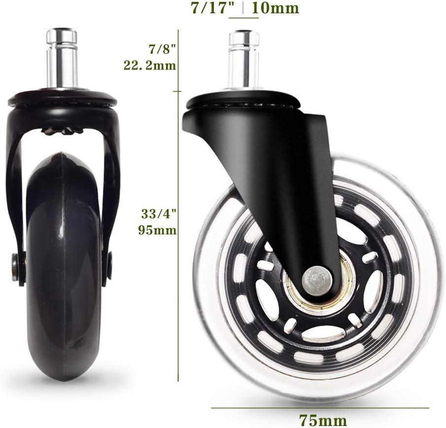 Anyke Ruote Girevoli per Sedia di Ufficio rotelle di Ricambio per Proteggere Pavimenti in Legno Duro universali compatibili con Diversi Tipi di sedie Set di 5 2.5 Pollici 11X22mm