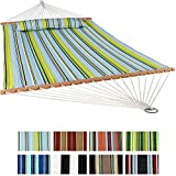 Sunnydaze 2 Person Quilted Fabric Hammock with Spreader Bars and Detachable Pillow Heavy Duty 450 Pound Capacity, Blue and Green Review