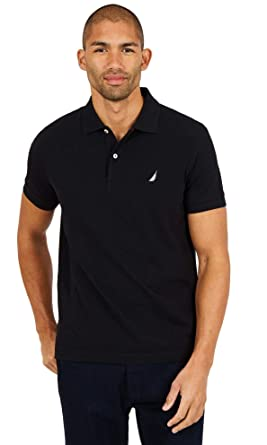 Nautica Mens Slim Fit Short Sleeve Solid Polo Shirt, BasicBlack ...