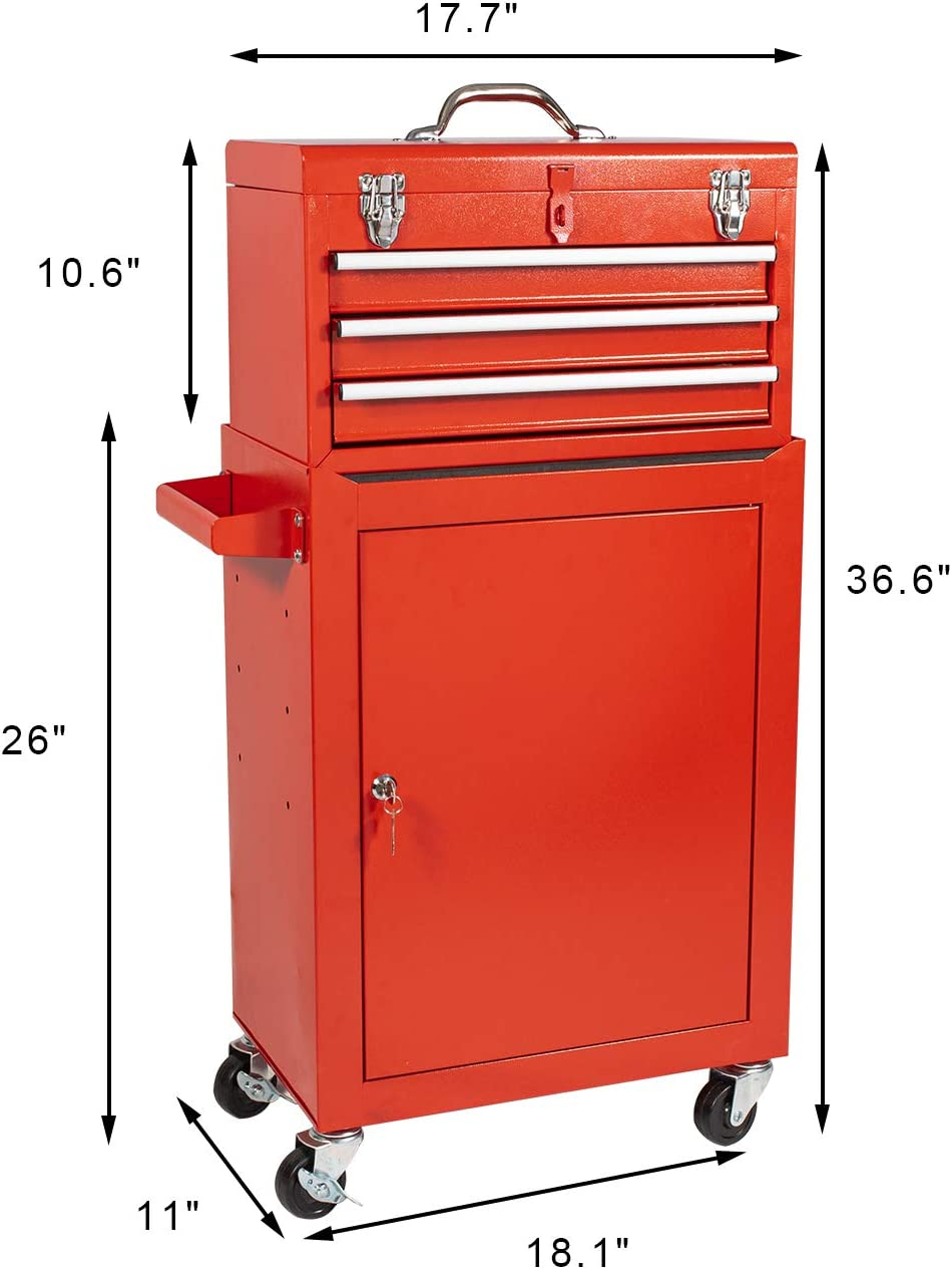 3-Drawer Tool Chest Rolling Storage Cabinet with Sliding Drawers,Keyed Locking System Toolbox Organizer with 4-Wheel Rolling for Garage and Warehouse Red