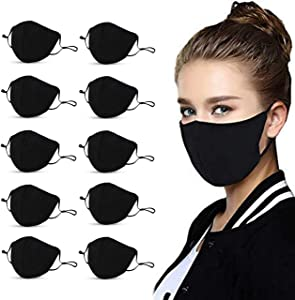 Forent 3-Ply Reusable Face Mask - Breathable Comfort, Fully Machine Washable, Face Masks for Home Office Work Outdoors (10-Pack)