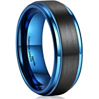 King Will Duo 8mm Black Brushed Blue Tungsten Carbide Wedding Band Ring Polish Finished Comfort Fit