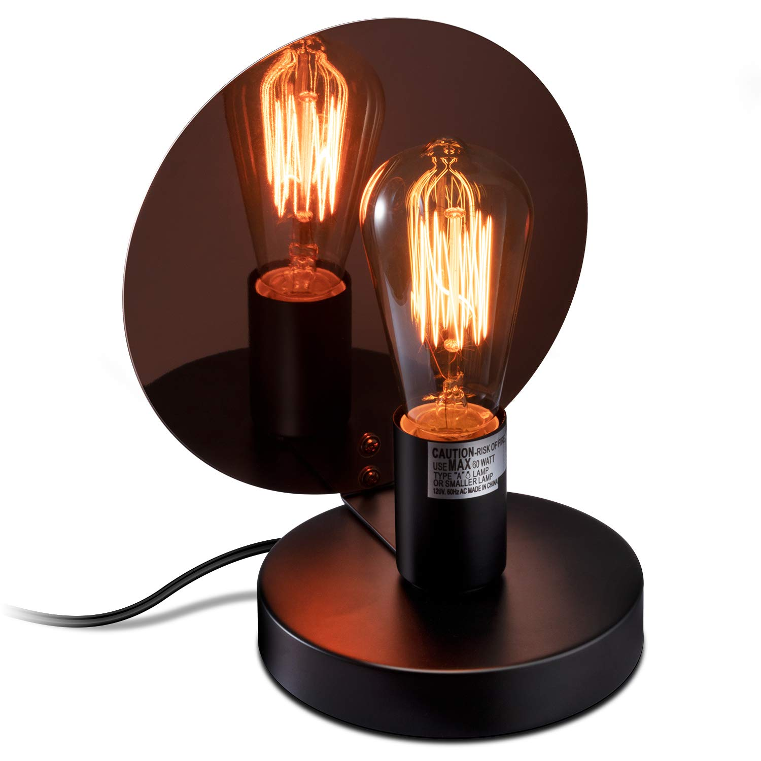 Black Sheoolor Retro Style Bedside Lamp Minimalist Design Dimmable Nightstand Lamp with Metal Base for Living Room Bedroom Cafe Home Decoration Touch Control Table Lamp