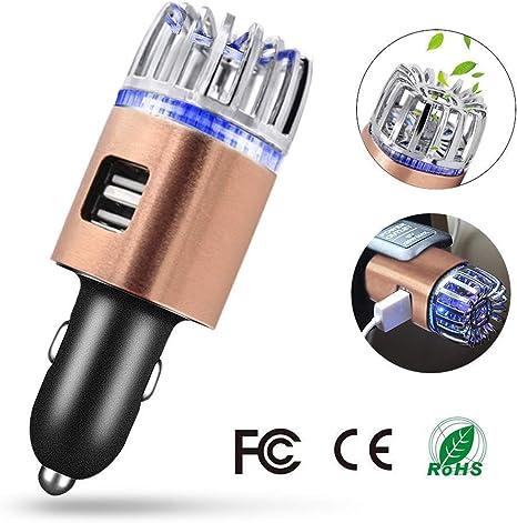 Les odeurs de Bain Le Pollen et Les bact/éries et Les allerg/ènes la poussi/ère Yuede Purificateur dair pour Voiture Ionisator W//Dual USB /& c/âble Double USB pour /éliminer la fum/ée