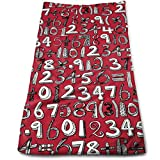 Math Doodle RED Microfiber Clean Towels Face Towels...