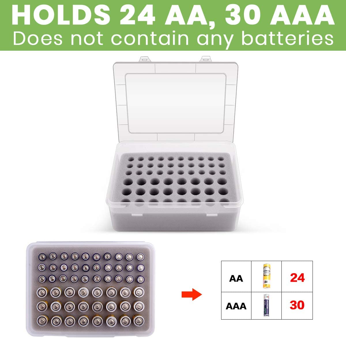 Battery Organizer Holder Batteries Storage Containers Box Case with Tester Checker BT-168 Garage Organization Holds Batteries 40 pcs AA 50 pcs AAA