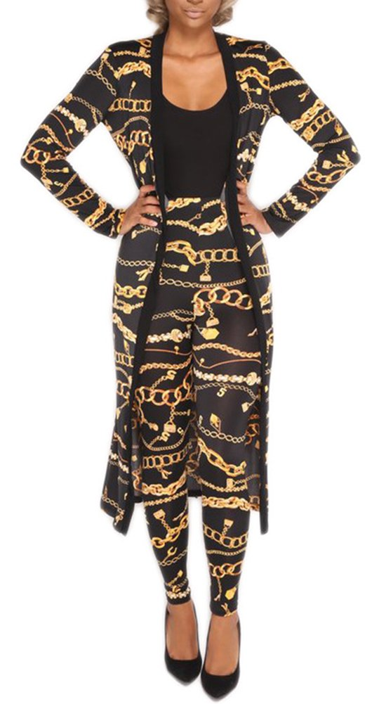 Blansdi Women Metal Chain Print Long Cardigan Blouse Legging Pants 2 Piece Suit Set Outfits