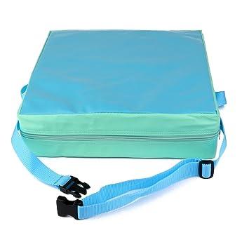 Cojin de silla - SODIAL(R) Cojin elevador de silla ninos Asientos de almuerzo portatil de piel sintetica de ninos Verde + azul