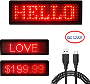 4411 Red LED Name Display Scrolling Text Message/Name Card tag Sign Advertising Board Rechargable programmable led tag