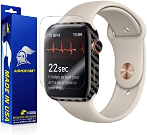 Armorsuit Apple Watch Series 4 Screen Protector (44mm) + Black Carbon Fiber Skin Wrap MilitaryShield Back Protector for Apple Watch Series 4 (44mm)