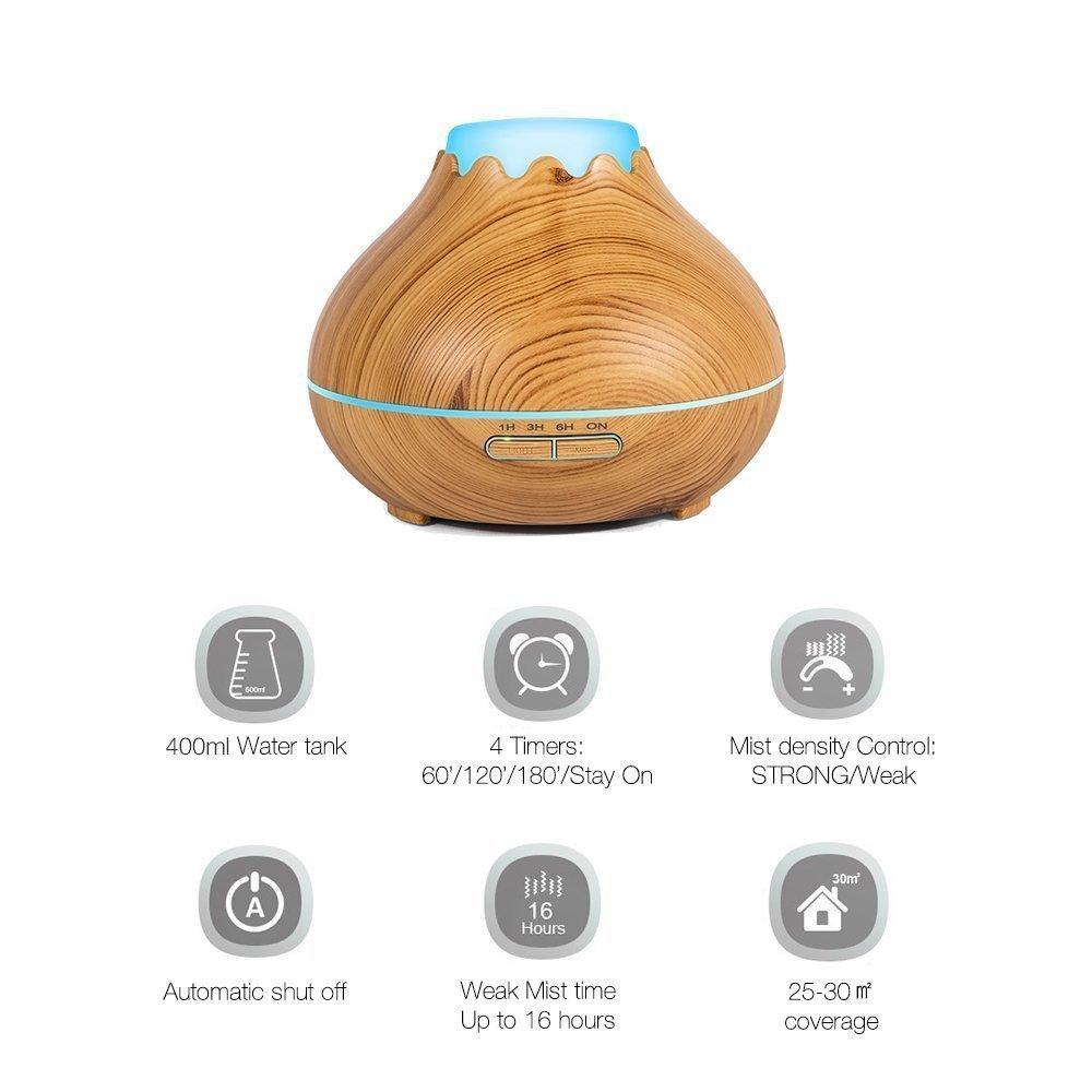Umidificatore legno 150ml, Aroma diffusore, Wood looking umidificatore Snowberg Cool Mist Olio essenziale 7 colori LED Diffusore ad ultrasuoni per uso domestico Baby Office (aspetto del legno chiaro)