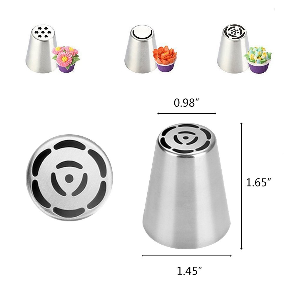 FireBee Russian Piping Tips Set 24 Pcs for Cake Decorating Supplies Kit with 12 Large Flower Icing Nozzles 10 Disposable Pastry Bags 2 Tri-Color Couplers by FireBee (Image #3)