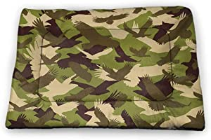 Camo Printed Pet Cushion Aloha Hawaiian Tropical Jungle Forest Hibiscus Flowers Leaves Nature Pet Mats for Food and Water Baby Pink Green Dark Brown