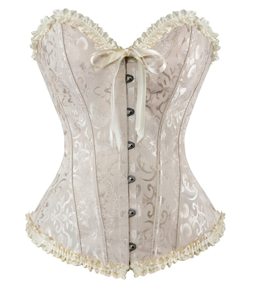 HLGO Lady's Flower Pattern Back Lace Up Adjustable Corset Sexy Bustier for Womens 3