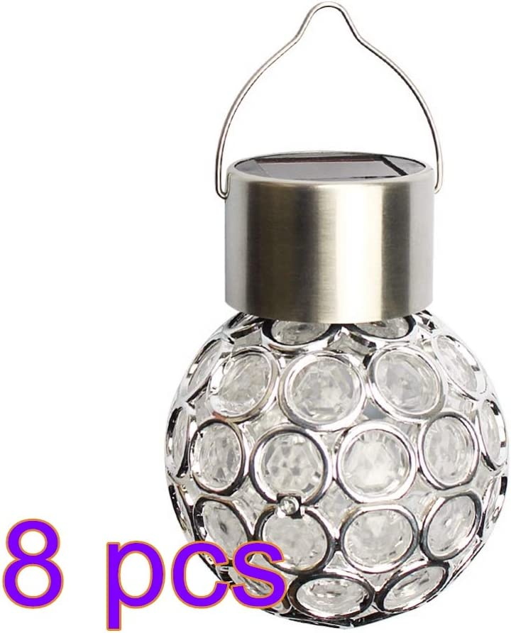 Houkiper Hanging Solar Lights, Waterproof RGB Solar LED Hollow Hanging Lights Outdoor Solar Lanterns with Handle for Garden, Yard, Patio, Lawn 8-Pack