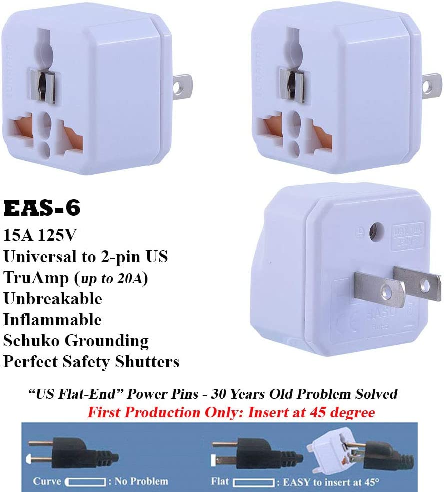 Wonpro2 Industry Quality 3-Pack Updated NextGen WA-6 USA 2-pin Adapter with Safety Shutters EAS-6 White