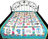 White Printed Nursery Blanket from Dehradun with Patch-work - Pure Cotton