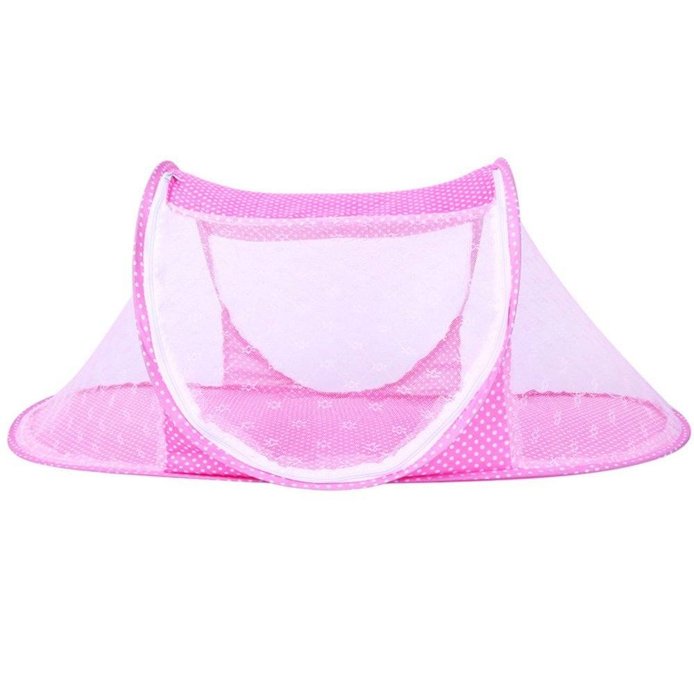 JUMUU Thin Summer Mosquito Net for Children ,Portable Folding Baby Travel Bed Crib Baby Cots Newborn Foldable Crib (Pink)