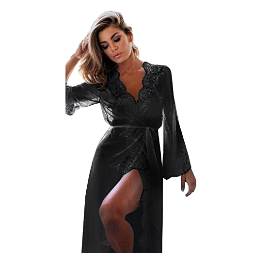 fee79e53621 Women s Lace Kimono Robe Sheer Nightgown Lingerie Chemise Sexy Deep-V Long  Sleeve Lace See