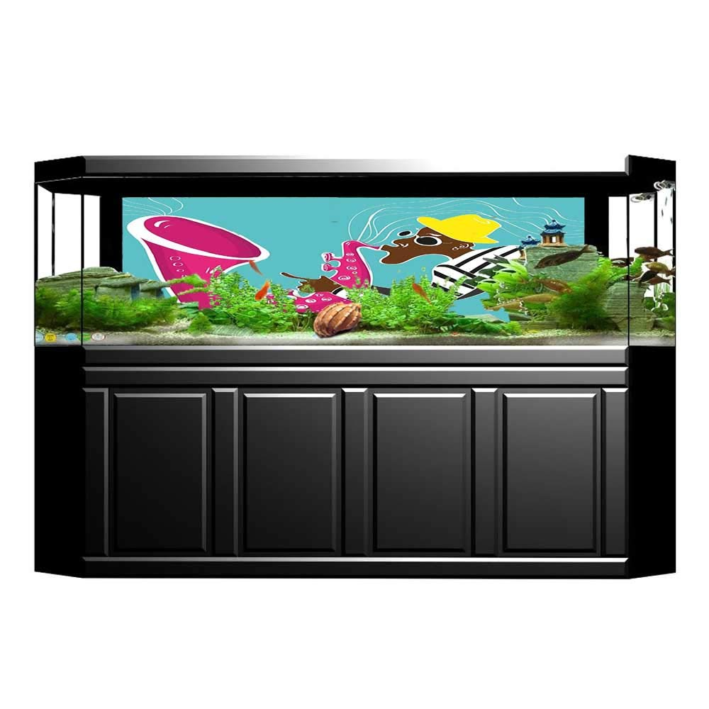 Jiahong Pan Background Fish Tank Decorations Groovy ian Saxophone Trumpet Vibes Sound Concert Art Pink Blue Fish Tank Wallpaper Sticker L23.6 x H19.6