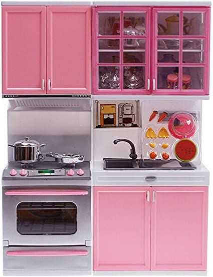 Amazon Com Lnddp Mini Kids Kitchen Pretend Play Cooking Set Cabinet Stove Girls Kitchen Room Combination Toy Play House Toys Sports Outdoors