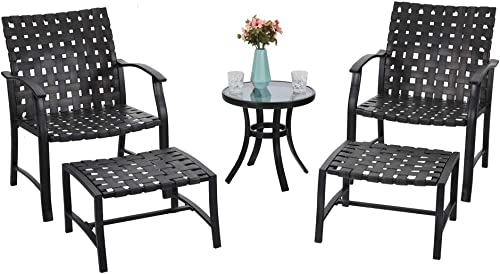 PHI VILLA Patio Strap Strapping Chairs and Ottoman with Glass Top Side Coffee Table Set of 5