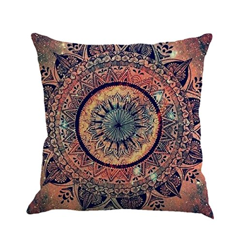 Kimloog Bohemian Throw Pillow Covers Retro Mandala Boho Style Decorative Pillowcases Sofa Bed Home Car (E)