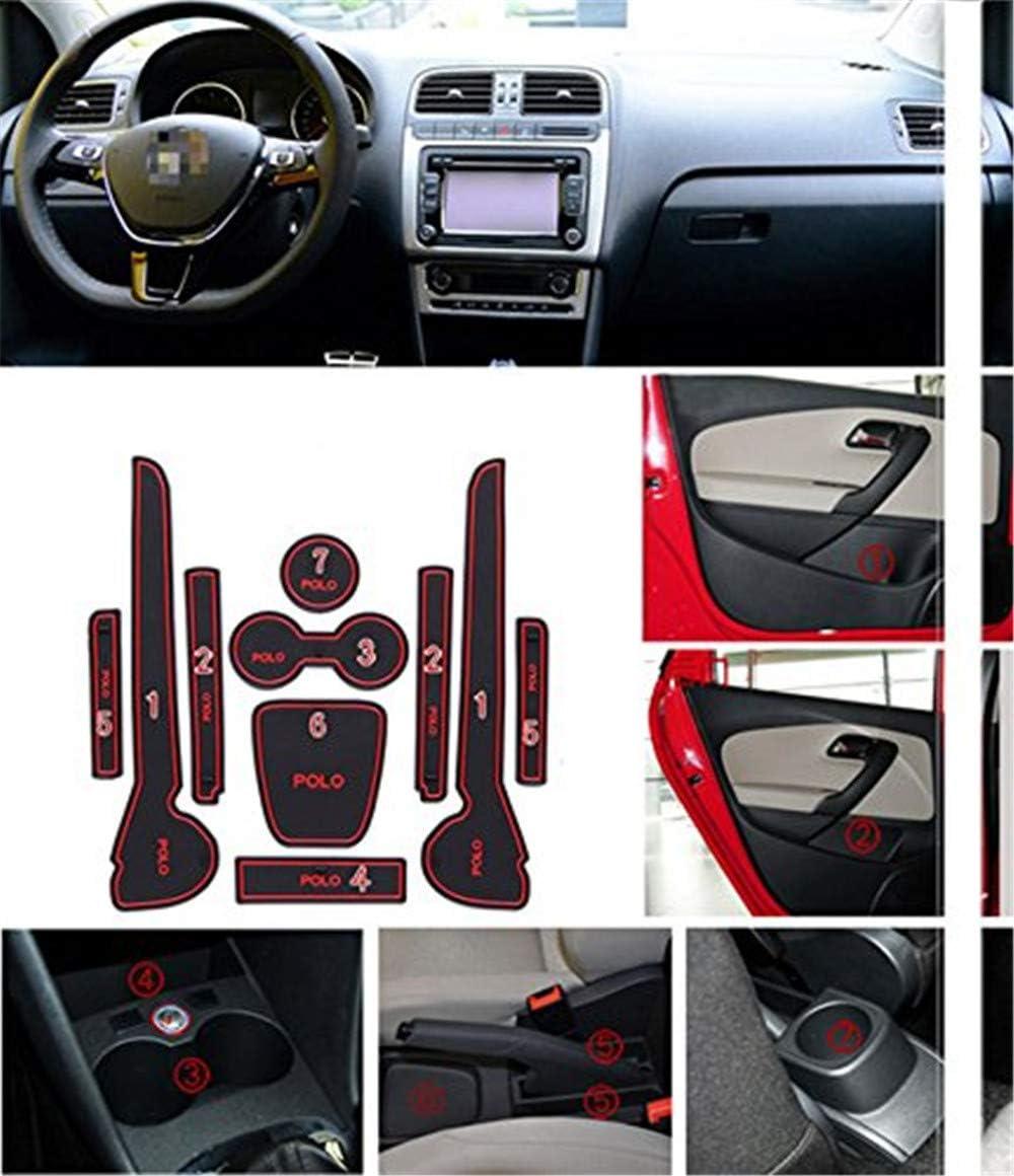 YCGJ Cuscinetti della Porta della Cabina Cuscinetti della Scatola del bracciolo Tappetino Antiscivolo Slot del Pad Tappetino Interno Antipolvere per VW Volkswagen Polo 11-16