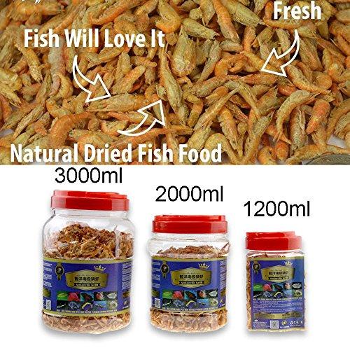 - Jacksupermall 1200ml Fish Food, 40.58 Liquid oz, Aquarium Pond Fish Food Floating Shrimp Krill Freeze Dried Carnivore Koi Tropical Cichlid Turtle (1200ml)