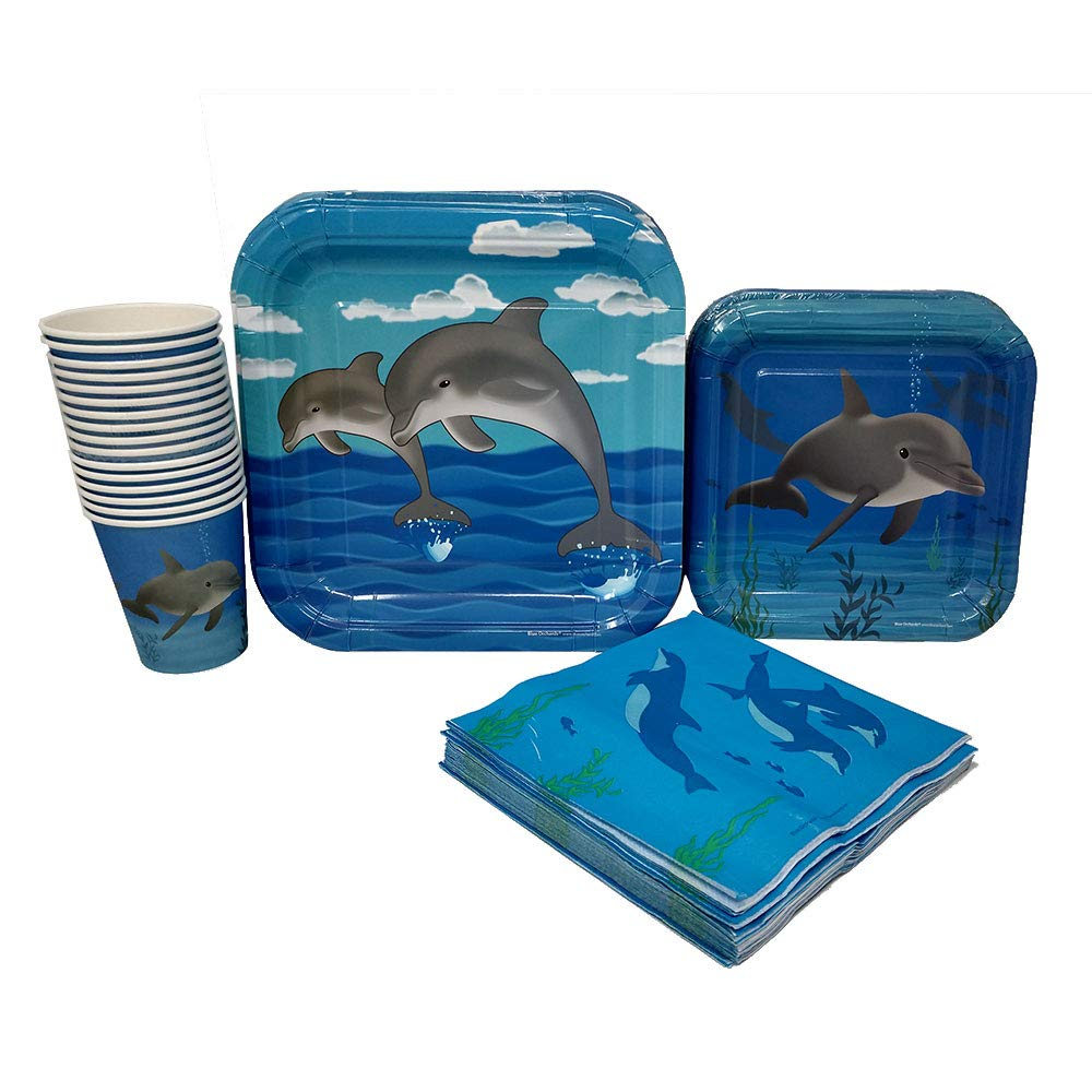 Dolphin Party Standard Party Packs (65+ Pieces for 16 Guests!), Dolphin Party Supplies, Ocean Birthday, Tableware