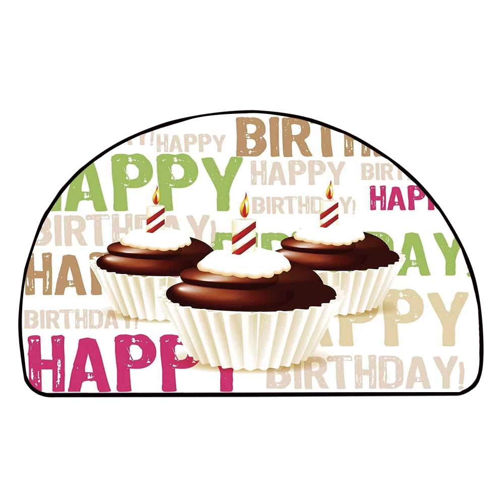 C COABALLA Birthday Decorations Comfortable Semicircle Mat,Grunge Happy Birthday Pattern with Three Chocolate Cupcakes Candles for Living Room,11.8'' H x 23.6'' L