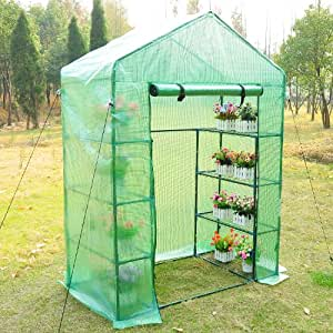 Outsunny 56×30×78 Inch Portable 4 Tier Warm Greenhouse Pop up Plants Flower Greenhouse with Shelves, Green